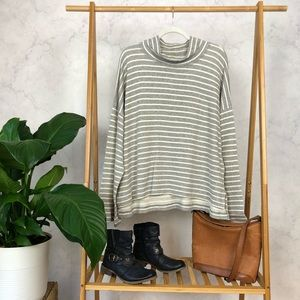 Madewell Striped Note Funnel Neck Pullover Top